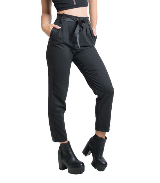 Παντελόνι με πιέτες και ζώνη (Μαύρο) home   ρούχα   bottoms   παντελόνια