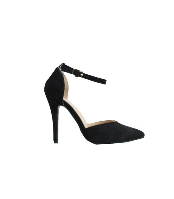 Γόβα σουέτ με μπαρέτα (Μαύρη) παπούτσια   γόβες