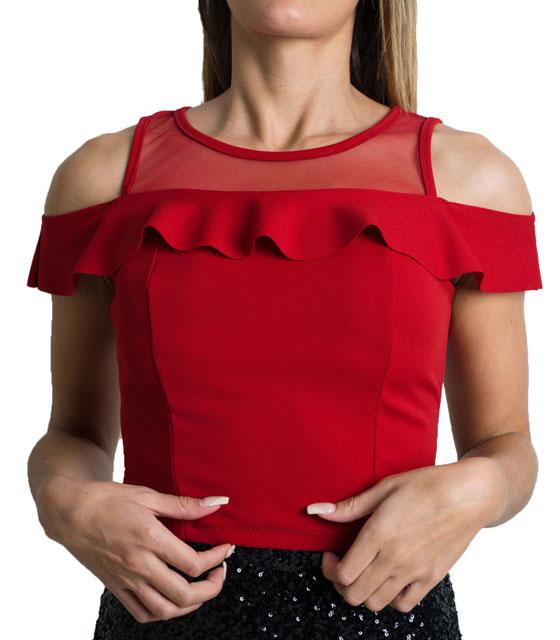 Τοπ με διαφάνεια και βολάν (Μπορντό) ρούχα   μπλούζες   top   τοπάκια   μπουστάκια