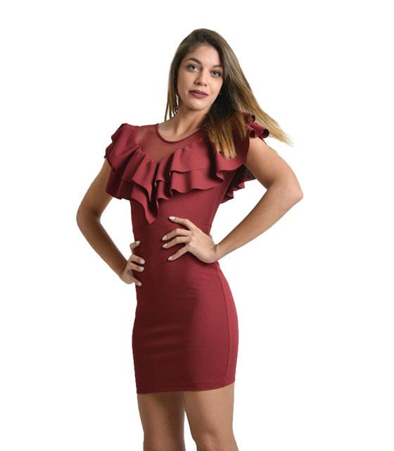 Φόρεμα με βολάν και διαφάνεια (Μπορντό) ρούχα   φορέματα