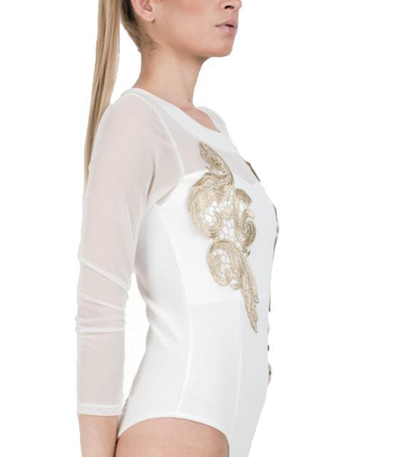 Κορμάκι με χρυσό κέντημα και διαφάνεια (Λευκό) ρούχα   μπλούζες   top   κορμάκια