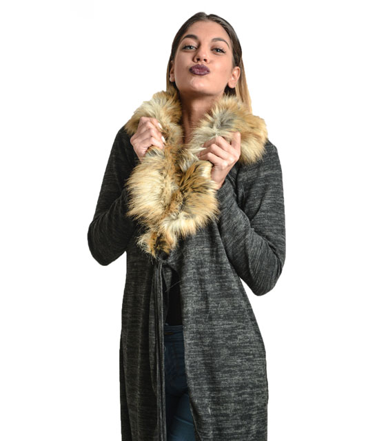 Πλεκτή ζακέτα με γούνα (Μαύρη) ρούχα   πανωφόρια   ζακέτες