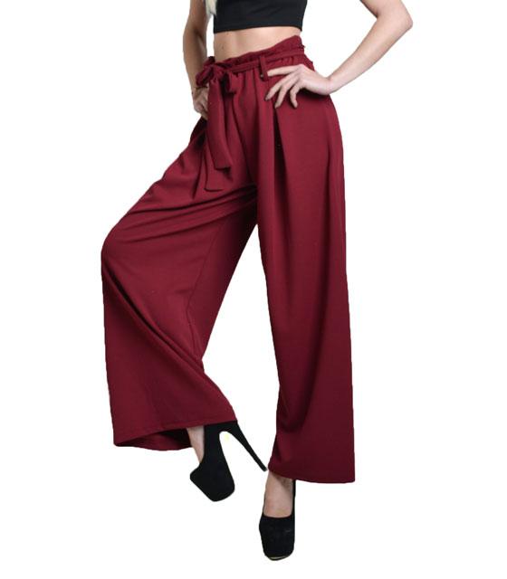 Ψηλόμεση παντελόνα με ζώνη (Μπορντό) ρούχα   bottoms   παντελόνια