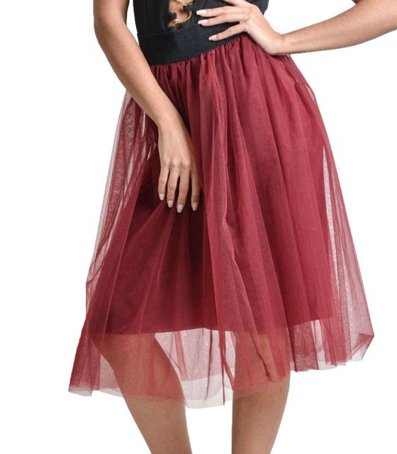 Φούστα με τούλι (Μπορντό) ρούχα   bottoms   φούστες