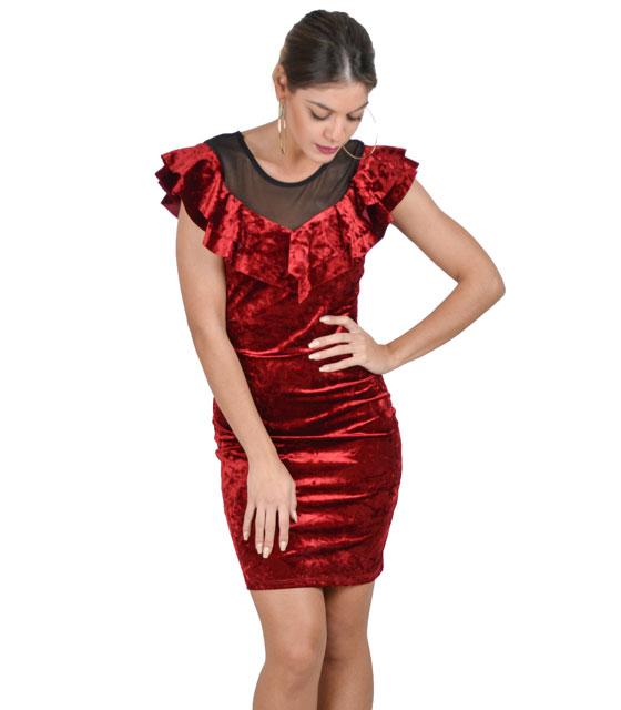 Φόρεμα βελούδο με βολάν και διαφάνεια (Μπορντό) ρούχα   φορέματα