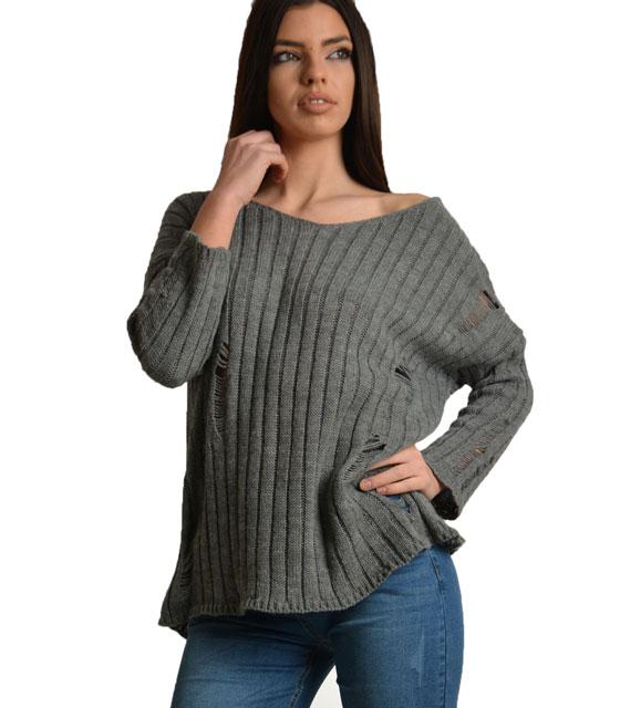 Πλεκτή μπλούζα με βαθύ άνοιγμα στην πλάτη και σκισίματα (Γκρί) ρούχα   πλεκτά
