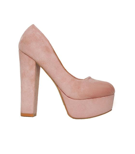 Σουέτ γόβες με χοντρό τακούνι Ροζ παπούτσια   γόβες