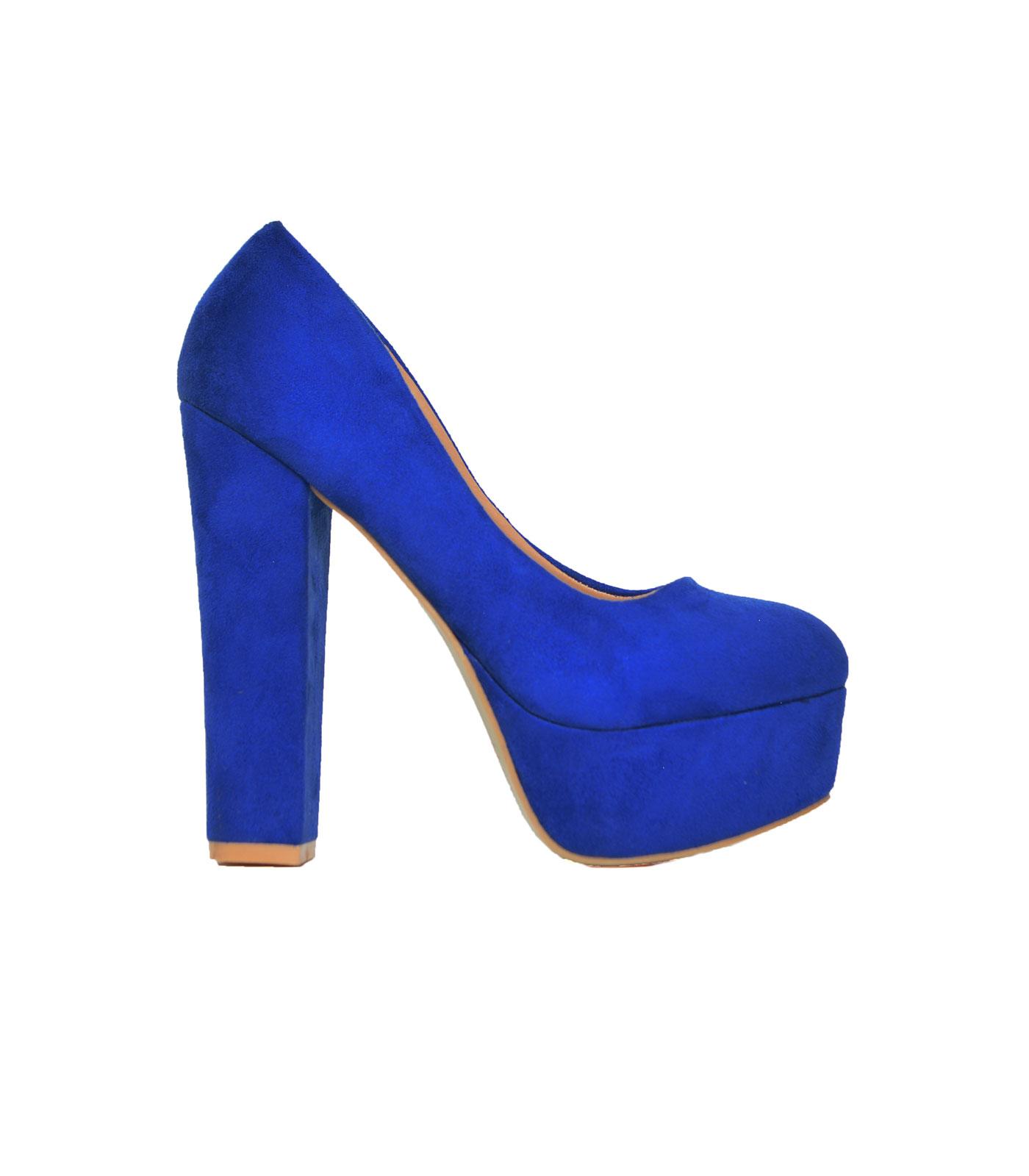 Σουέτ γόβες με χοντρό τακούνι Μπλε παπούτσια   γόβες