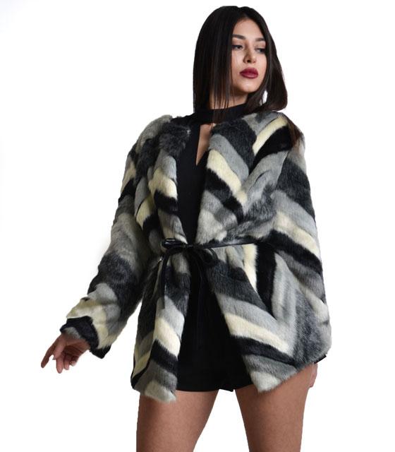 Γκρί γούνα με κούμπωμα και ζώνη δερματίνη ρούχα   πανωφόρια   γούνες   γουνάκια