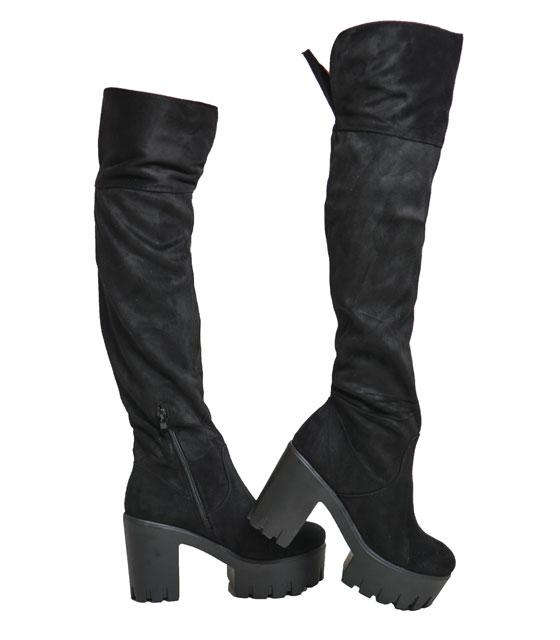 Μαύρες μπότες με άνοιγμα πίσω παπούτσια   γυναικείες μπότες