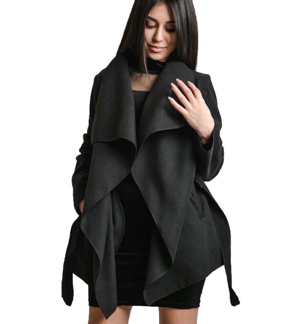 Μαύρο παλτό με ζώνη ρούχα   πανωφόρια   σακάκια   παλτό
