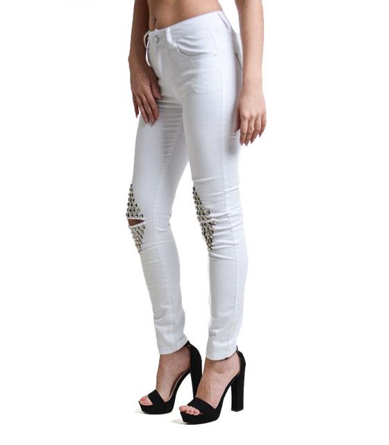 Παντελόνι με σκισίματα στο γόνατο και τρουκς Λευκό ρούχα   bottoms   τζιν