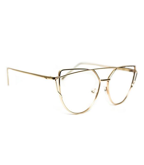 bf6e5faa2e Χρυσά μεταλλικά γυαλιά με διαφανές φακό