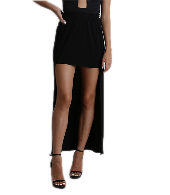 Φούστα μαύρη ψηλόμεση ελαστική μισή πλευρά μακριά ρούχα   bottoms   φούστες
