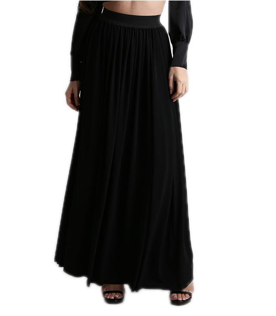 Φούστα μακριά ψηλόμεση μαύρη ρούχα   bottoms   φούστες