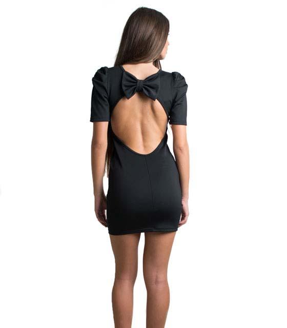 Φόρεμα μαύρο εξώπλατο με φιόγκο στην πλάτη ρούχα   φορέματα