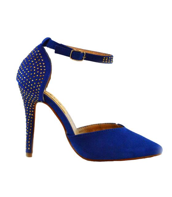 Γόβα μπλε σουέτ με μπαρέτα στρας παπούτσια   γόβες