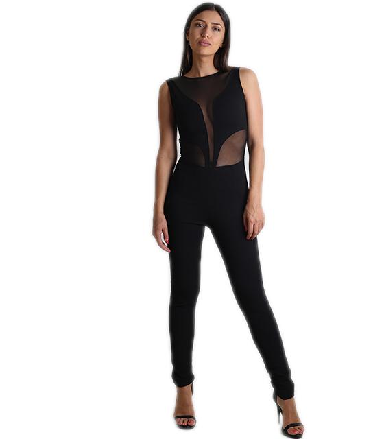 Φόρμα ελαστική με λεπτομέρεια διαφάνεια ρούχα   ολόσωμες φόρμες
