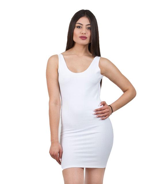 Mini Εφαρμοστό Φόρεμα με ανοιχτή πλάτη (Λευκό) ρούχα   φορέματα