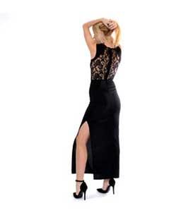 Φόρεμα μαύρο μακρύ ελαστικό με δαντέλα πίσω ρούχα   φορέματα