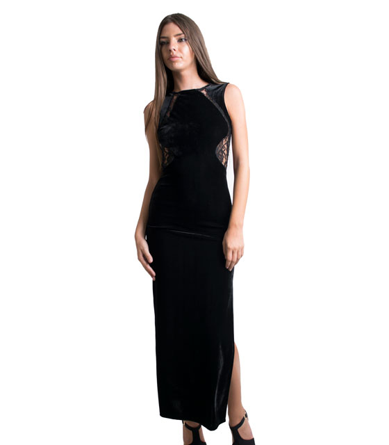 Φόρεμα βελούδο μαύρο μακρύ ελαστικό με δαντέλα πίσω home   ρούχα   φορέματα