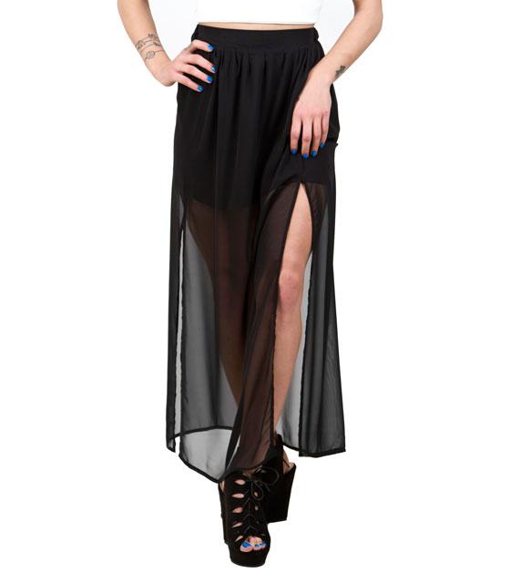 Μαξι φούστα διαφάνεια με σκισίματα μαύρη ρούχα   bottoms   φούστες