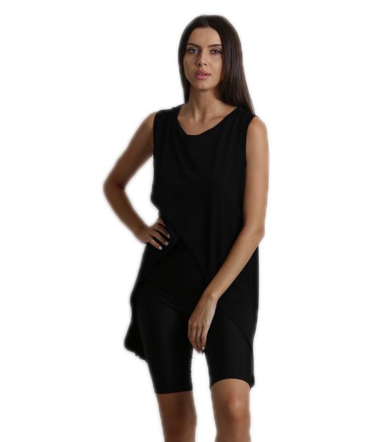 Μπλούζα αμάνικη με πλαινές μύτες μαύρο ρούχα   μπλούζες   top   t shirt   αμάνικα