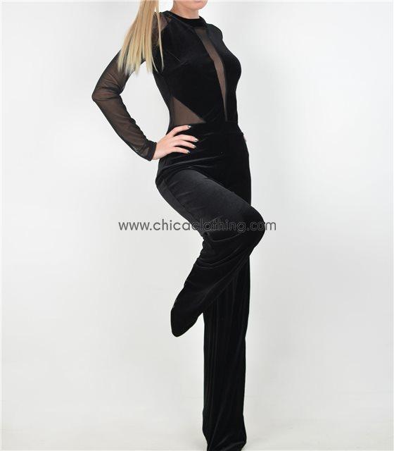 Ολόσωμη φόρμα βελούδο με διαφάνεια Μαύρη