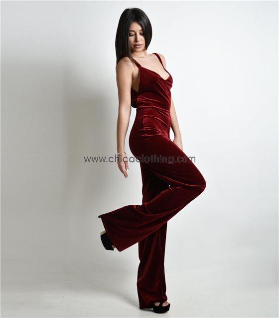 Ολόσωμη φόρμα τιράντα βελούδο Μπορντό