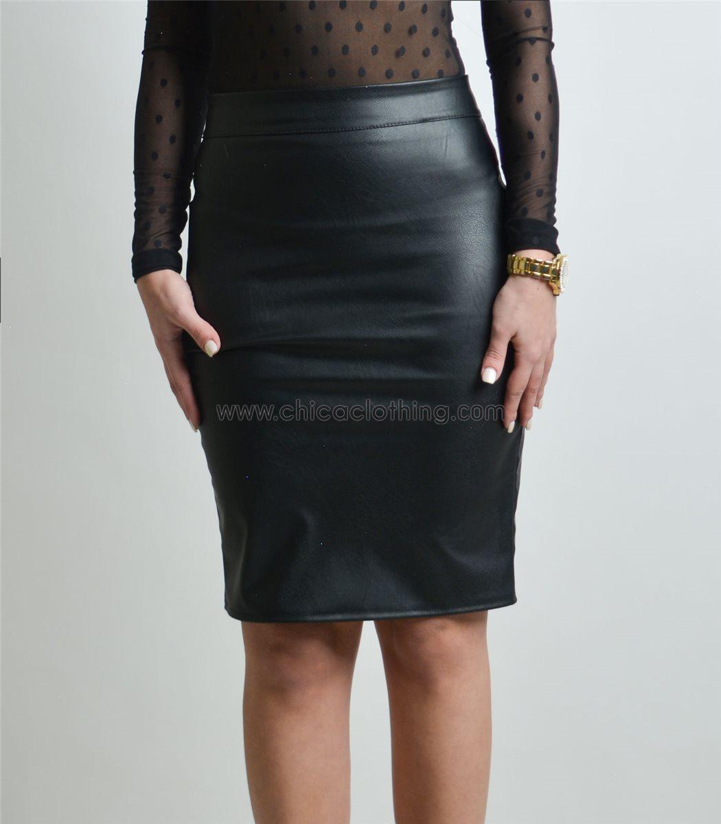 Γυναικεία φούστα δερματίνη με πιέτες και φερμουάρ (Μαύρη) 0612d3b0a2d
