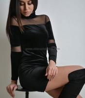 Φόρεμα με λωρίδες διαφάνεια μαύρο