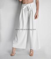 Ψηλόμεση παντελόνα με ζώνη (Λευκό)