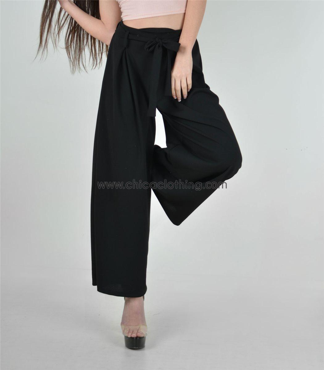 5134a3774478 Γυναικεία ψηλόμεση παντελόνα με ζώνη (Μαύρο)