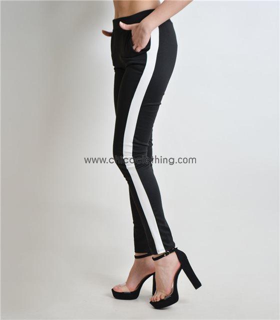 Μαύρο ελαστικό παντελόνι με άσπρες λεπτομέρειες στο πλάι
