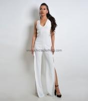 Ολόσωμη φόρμα με κρίκους και ανοίγματα (Λευκό)