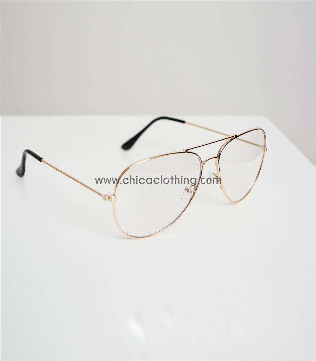 Γυναικεία χρυσά μεταλλικά γυαλιά με διαφανές φακό 59e75a44035