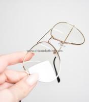 Χρυσά μεταλλικά γυαλιά με διαφανές φακό