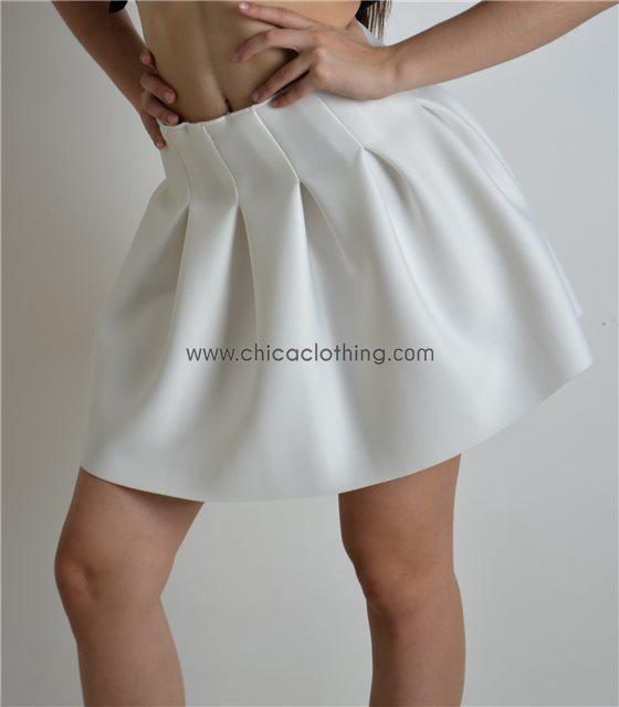 Φούστα λευκή κλος με πιέτες