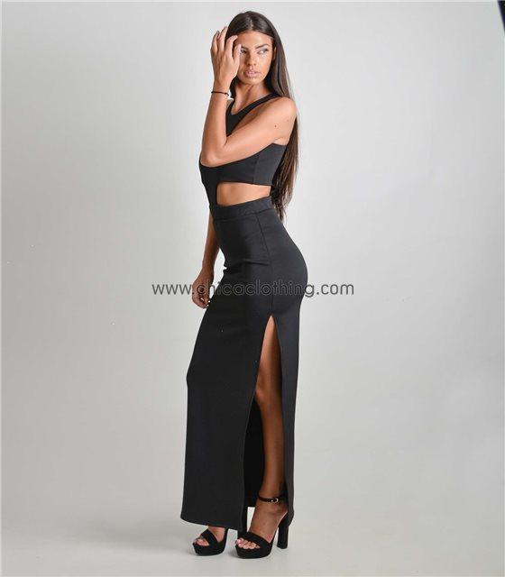 Μάξι φόρεμα με ανοίγματα και σκίσιμο