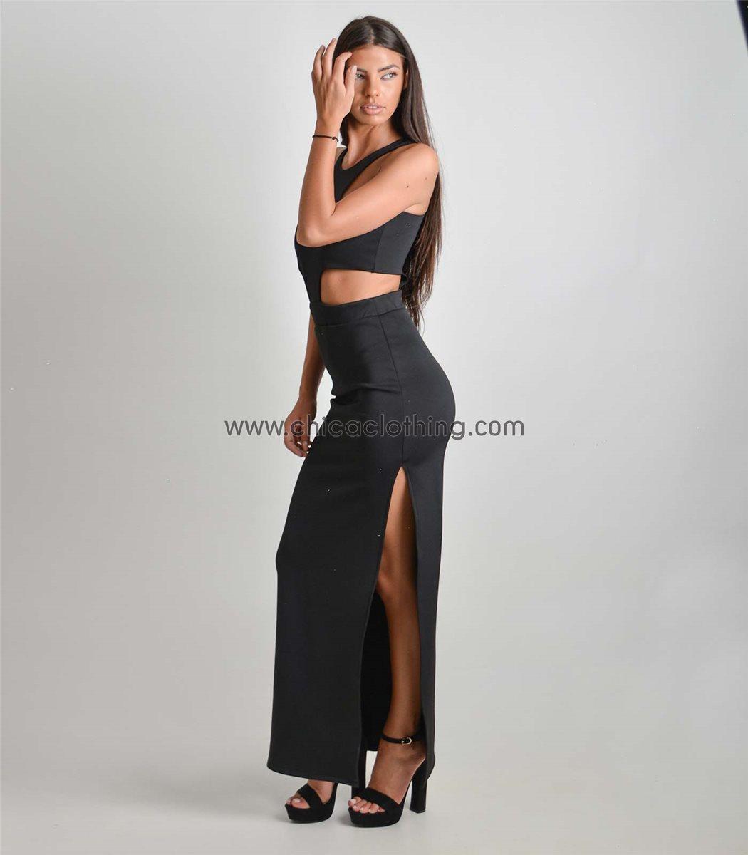 Γυναικείο μάξι φόρεμα με ανοίγματα και σκίσιμο 177454443ab