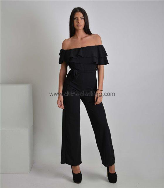 Ολόσωμη φόρμα bardot με ζώνη και βολάν (Μαύρη)