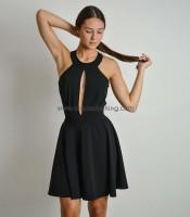 Φόρεμα με άνοιγματα και διαφάνεια μαύρο