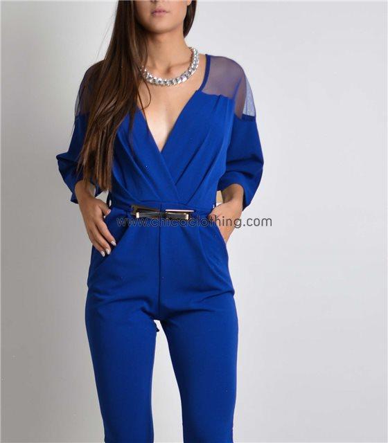 Κρουαζέ ολόσωμη φόρμα με διαφάνεια και ζώνη (Μπλε)