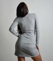 Ασύμμετρο εφαρμοστό φόρεμα ζιβάγκο (Ανοιχτό Γκρι)