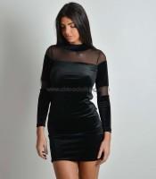 Φόρεμα με λωρίδες διαφάνεια (Μαύρο)
