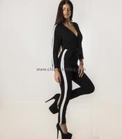 Ολόσωμη φόρμα κρουαζέ με λευκή ρίγα (Μαύρο)