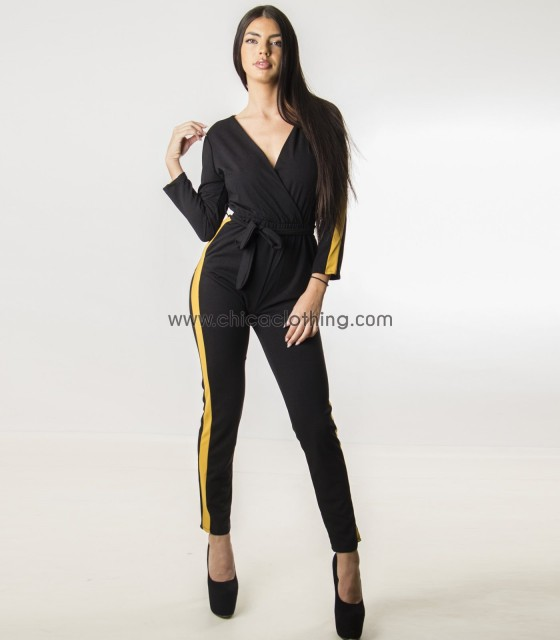Ολόσωμη φόρμα κρουαζέ με κίτρινη ρίγα (Μαύρο)