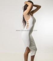 Εφαρμοστό φόρεμα τιράντα με ανοίγματα στο πλάι (Λευκό)