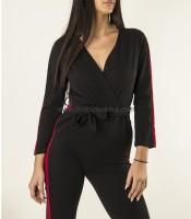 Ολόσωμη φόρμα κρουαζέ με μπορντό ρίγα (Μαύρο)