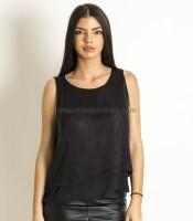 Αμάνικη μπλούζα με μαύρο δίχτυ και δέσιμο